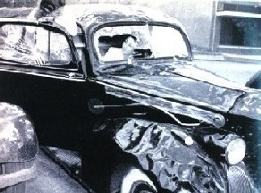 Hail damage to car, 1940