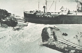 Levee broken by rogue steamship