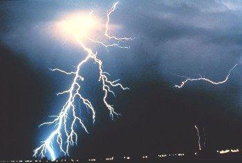 Large single lightning strike