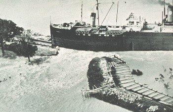 Levee broken by rogue steamship