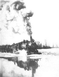 Steam locomotive takes on the flood